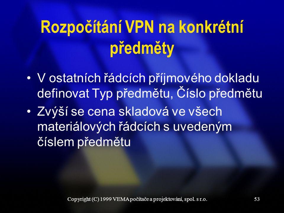 Rozpočítání VPN na konkrétní předměty
