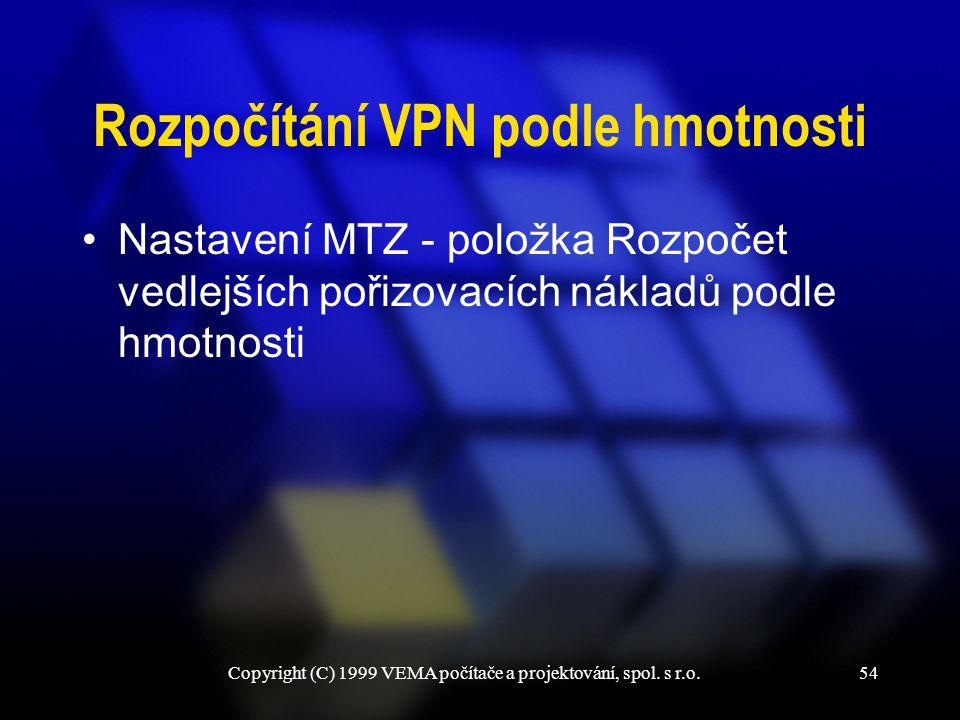 Rozpočítání VPN podle hmotnosti