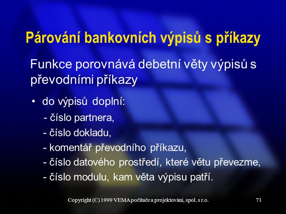 Párování bankovních výpisů s příkazy