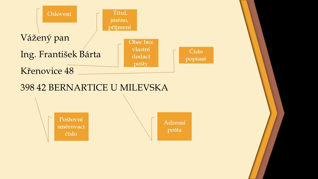 Vážený pan Ing. František Bárta Křenovice 48 398 42 BERNARTICE U MILEVSKA