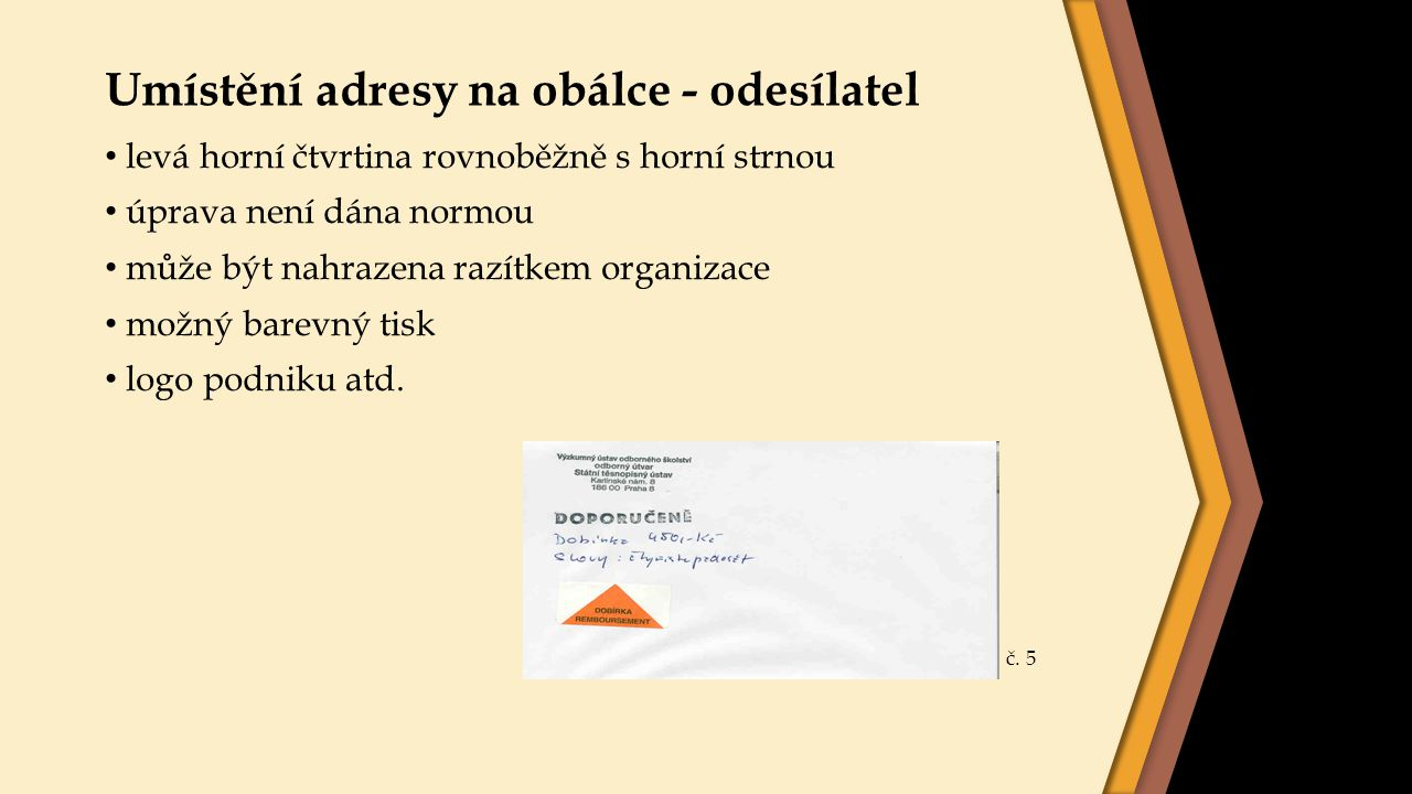 Umístění adresy na obálce - odesílatel