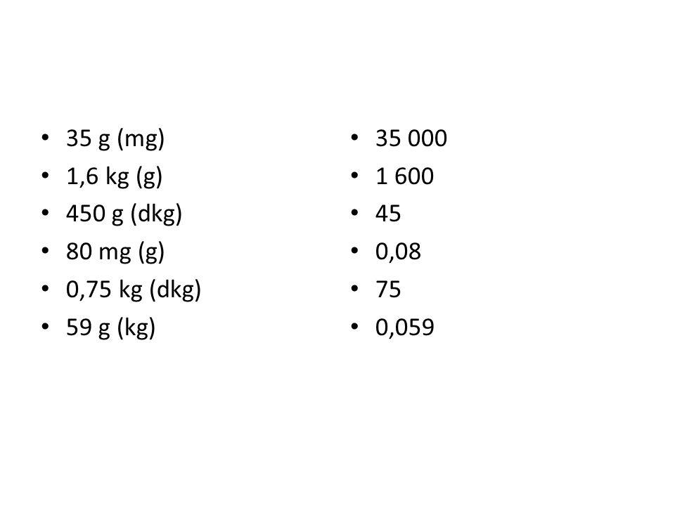 35 g (mg) 1,6 kg (g) 450 g (dkg) 80 mg (g) 0,75 kg (dkg) 59 g (kg) 35 000 1 600 45 0,08 75 0,059