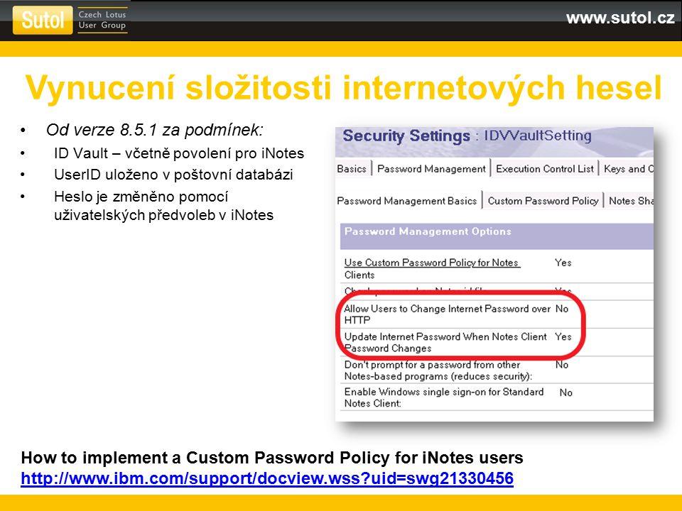 Vynucení složitosti internetových hesel