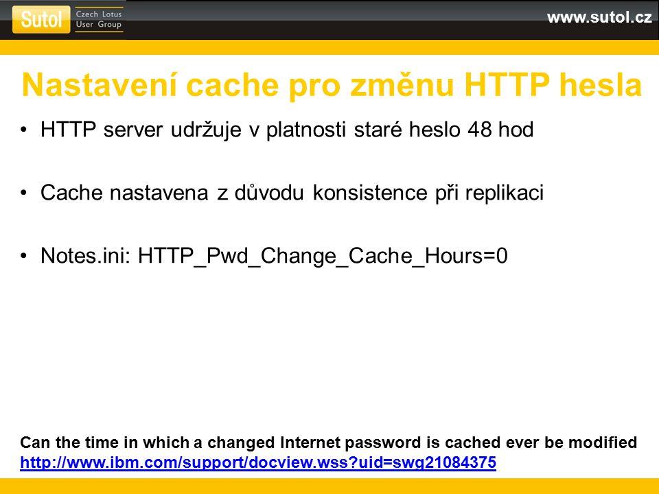 Nastavení cache pro změnu HTTP hesla