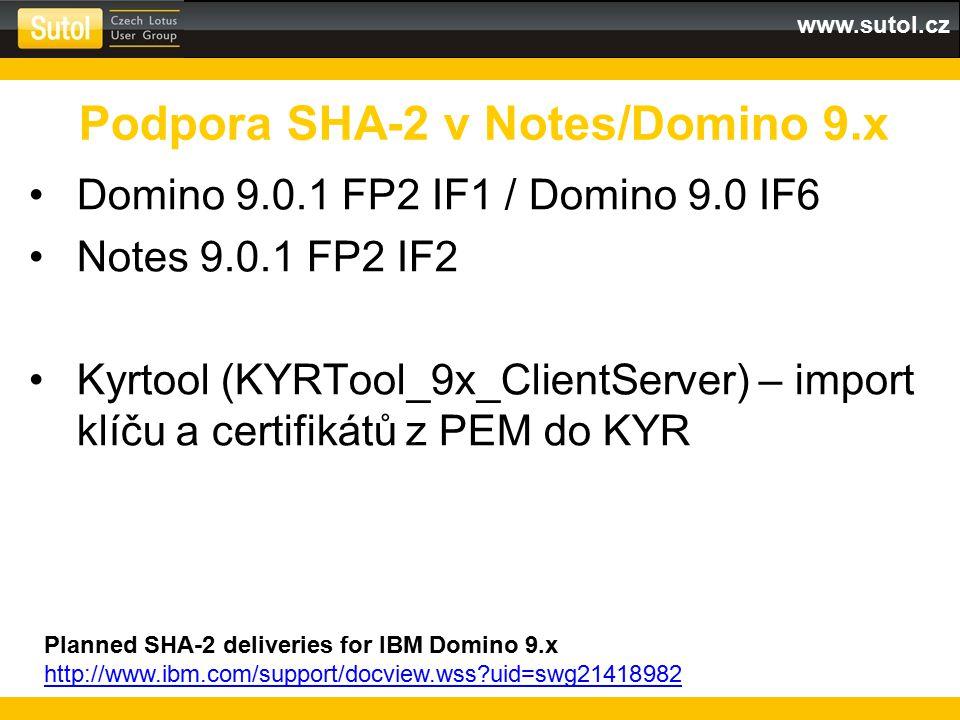 Podpora SHA-2 v Notes/Domino 9.x