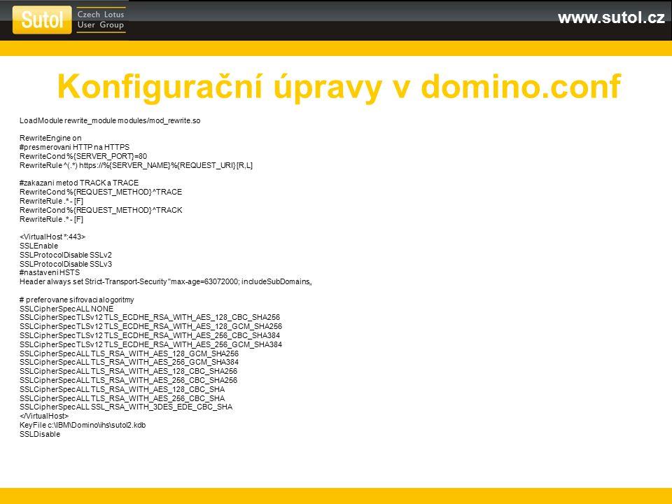 Konfigurační úpravy v domino.conf