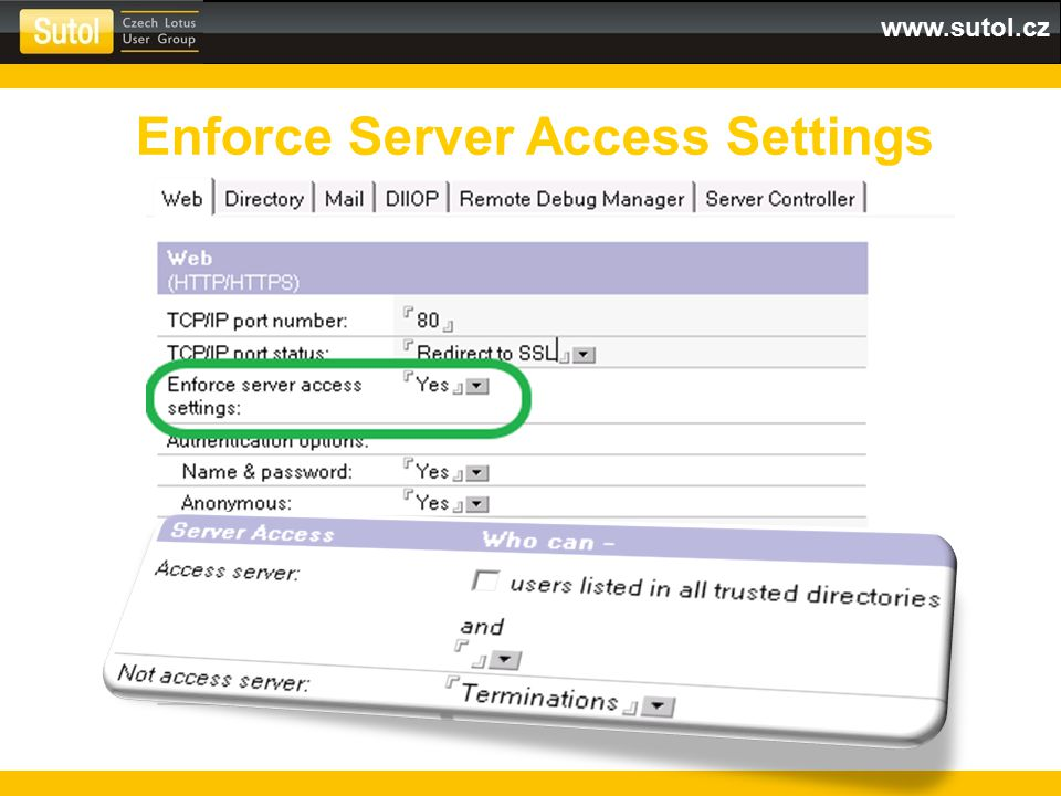 Enforce Server Access Settings