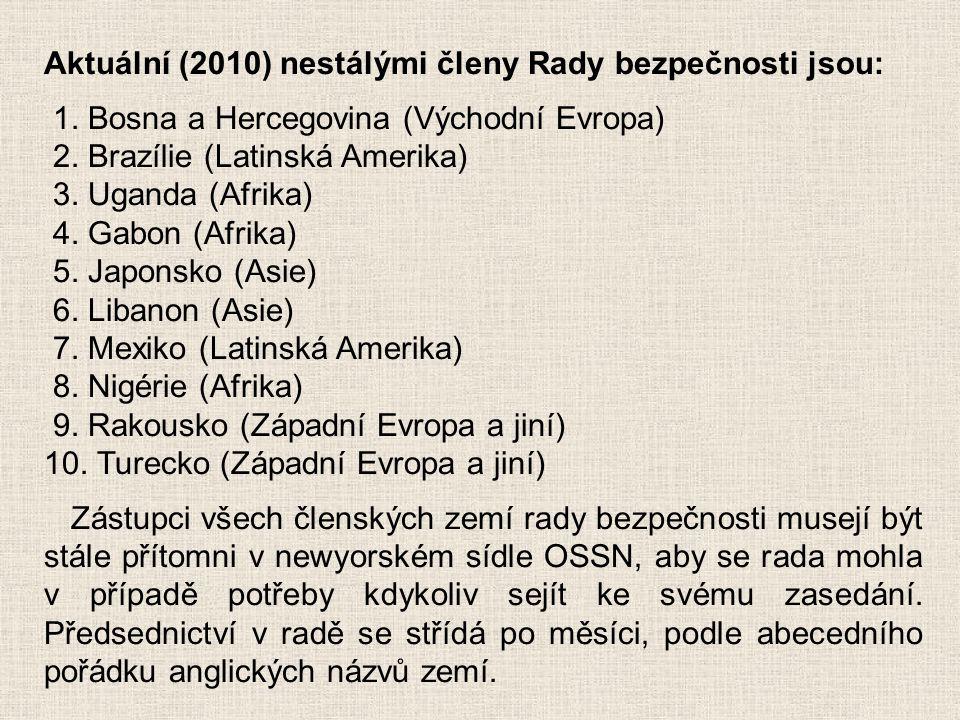 Aktuální (2010) nestálými členy Rady bezpečnosti jsou: