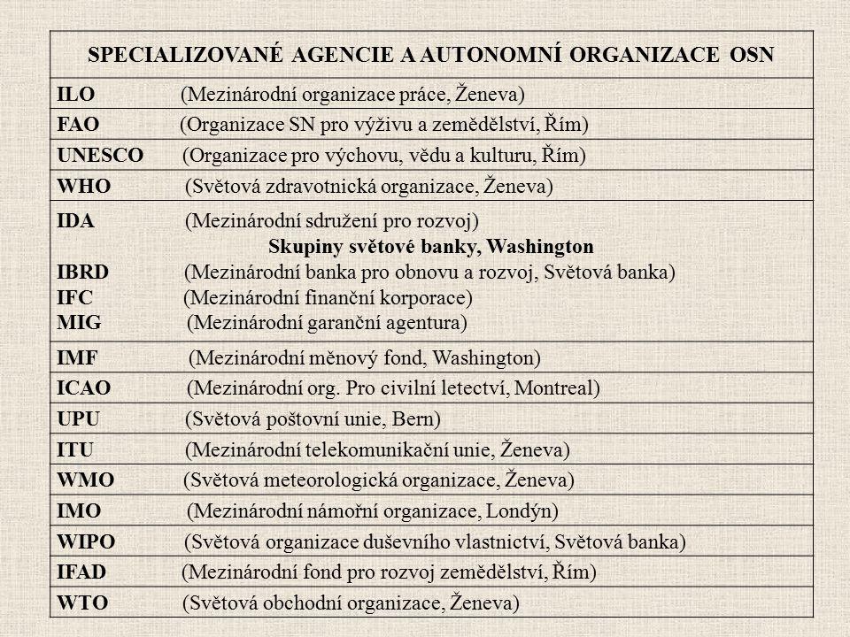 SPECIALIZOVANÉ AGENCIE A AUTONOMNÍ ORGANIZACE OSN