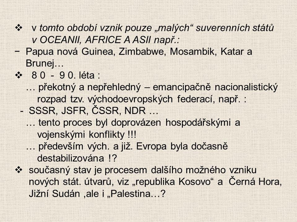 """v tomto období vznik pouze """"malých suverenních států v OCEANII, AFRICE A ASII např.:"""