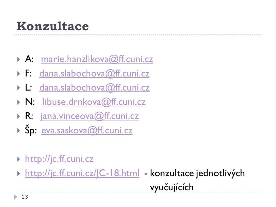 Konzultace A: marie.hanzlikova@ff.cuni.cz