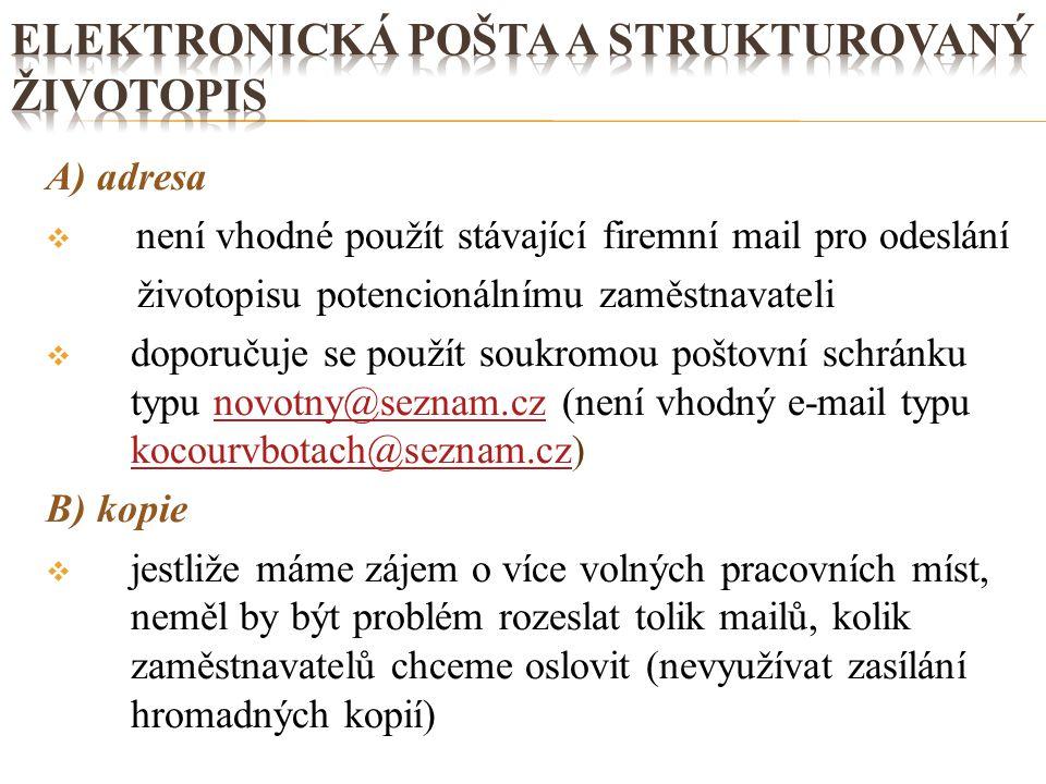 elektronická pošta a strukturovaný životopis