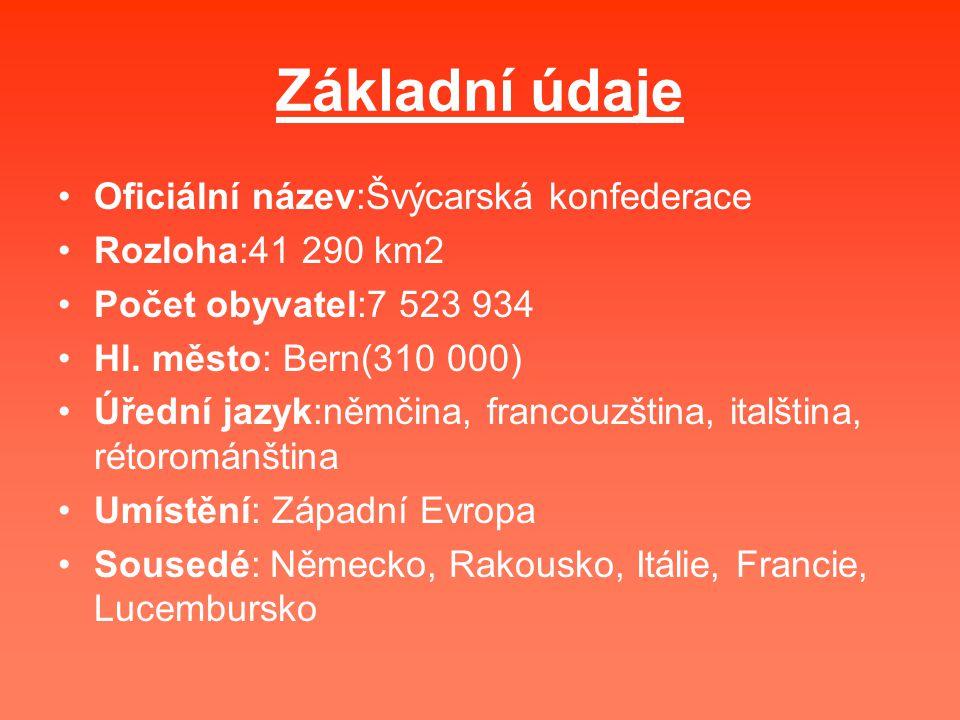 Základní údaje Oficiální název:Švýcarská konfederace