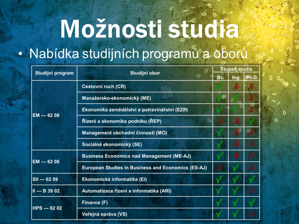 Možnosti studia Nabídka studijních programů a oborů