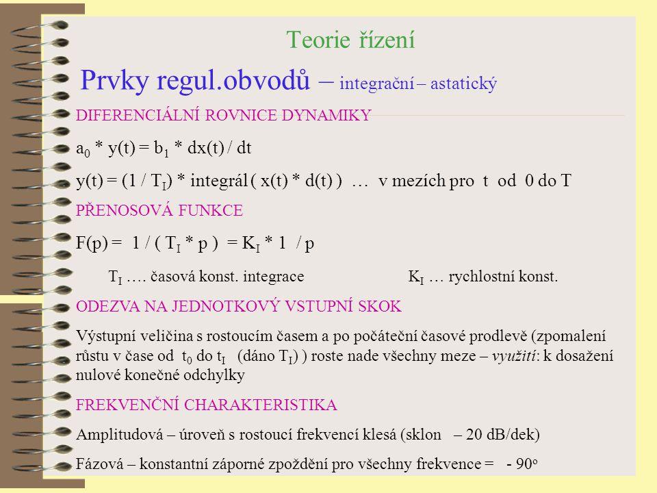 Prvky regul.obvodů – integrační – astatický