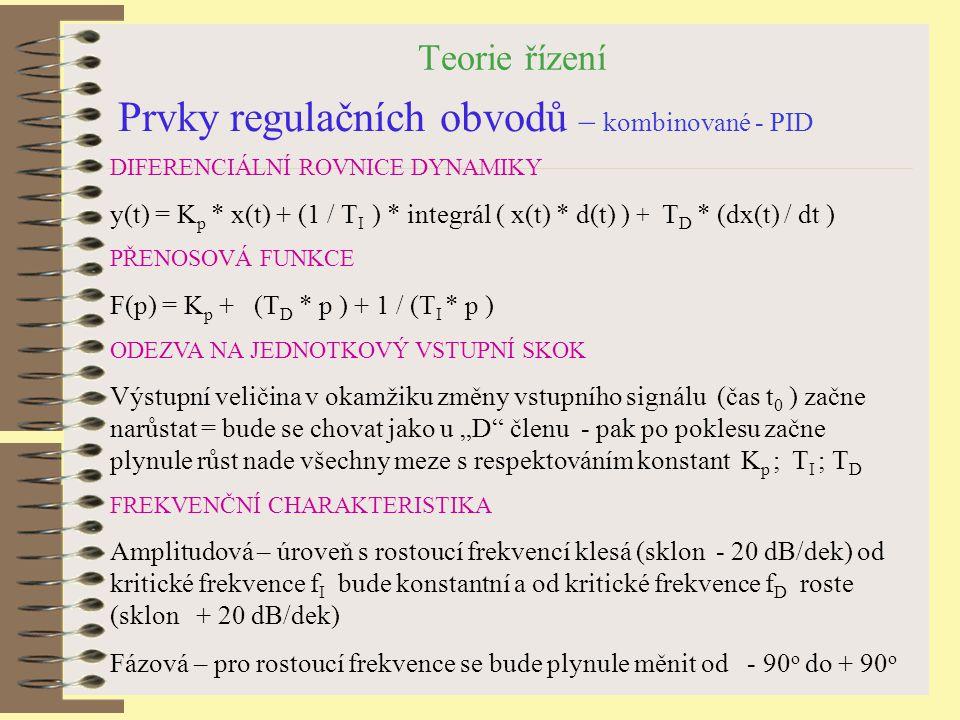 Prvky regulačních obvodů – kombinované - PID
