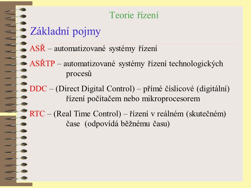 Základní pojmy Teorie řízení ASŘ – automatizované systémy řízení