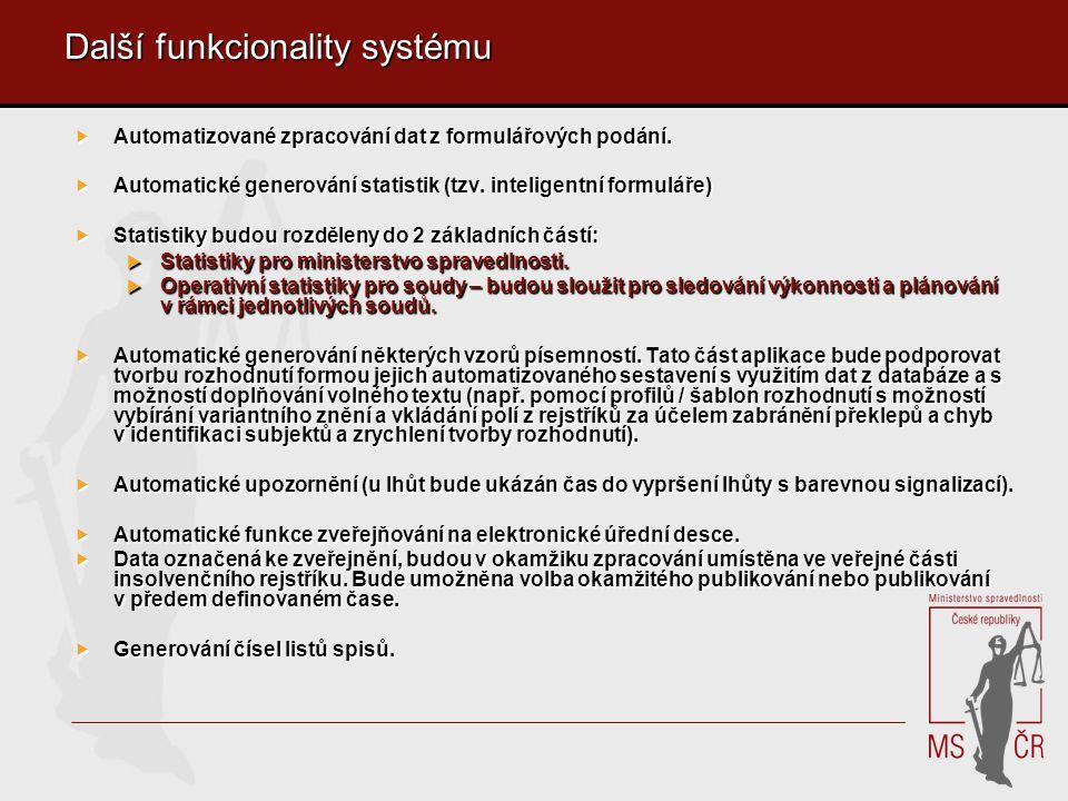 Další funkcionality systému