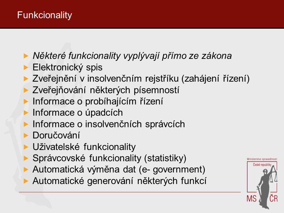Funkcionality Některé funkcionality vyplývají přímo ze zákona. Elektronický spis. Zveřejnění v insolvenčním rejstříku (zahájení řízení)