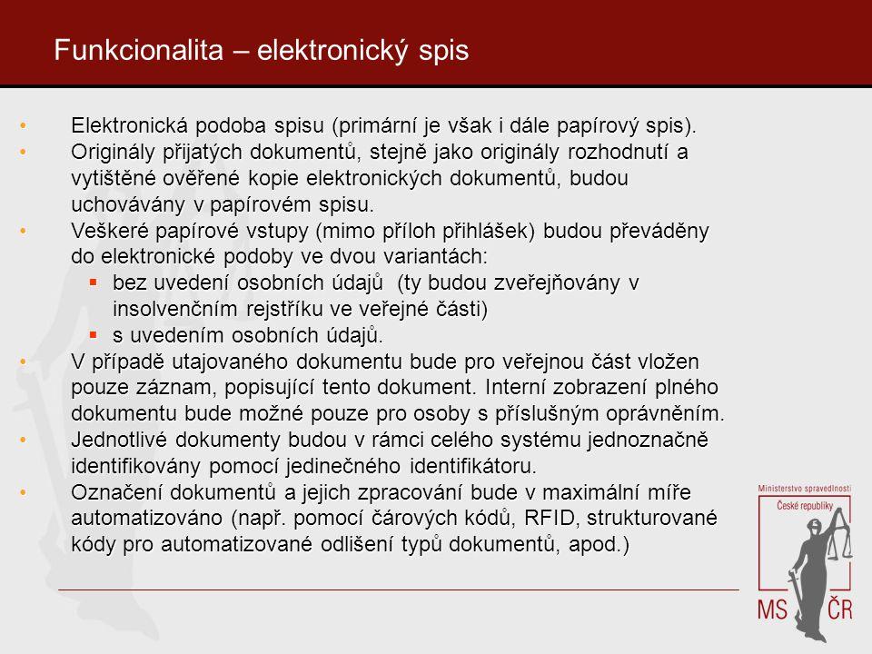 Funkcionalita – elektronický spis