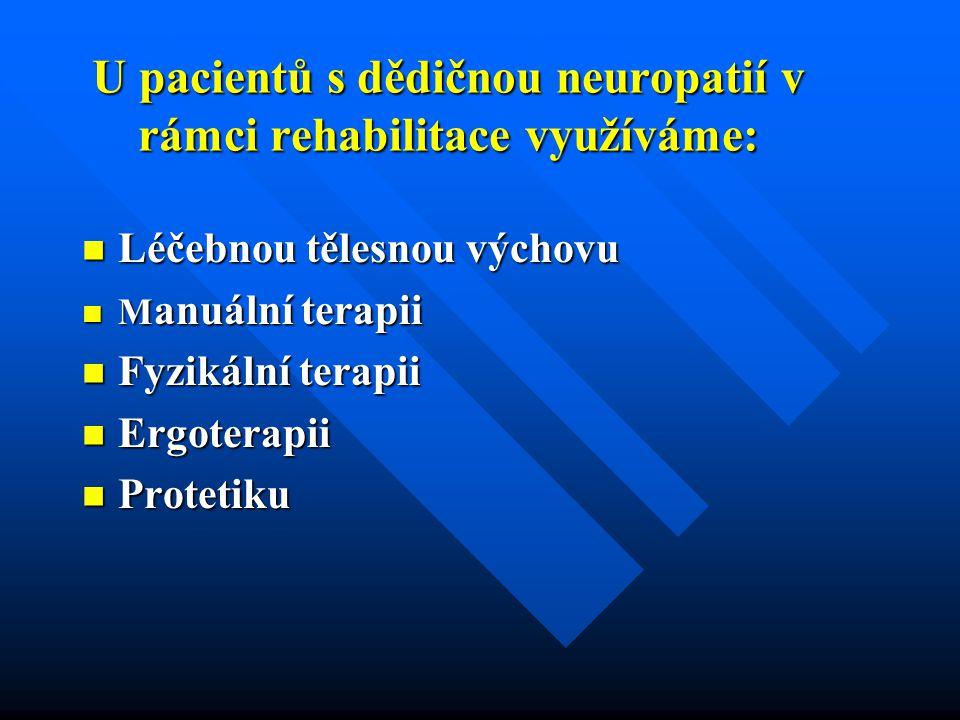 U pacientů s dědičnou neuropatií v rámci rehabilitace využíváme: