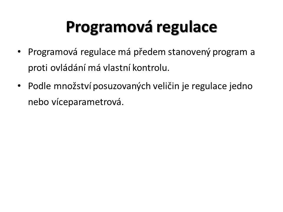 Programová regulace Programová regulace má předem stanovený program a proti ovládání má vlastní kontrolu.