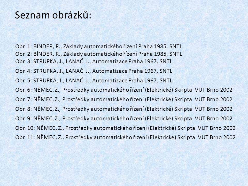 Seznam obrázků: Obr. 1: BÍNDER, R., Základy automatického řízení Praha 1985, SNTL. Obr. 2: BÍNDER, R., Základy automatického řízení Praha 1985, SNTL.