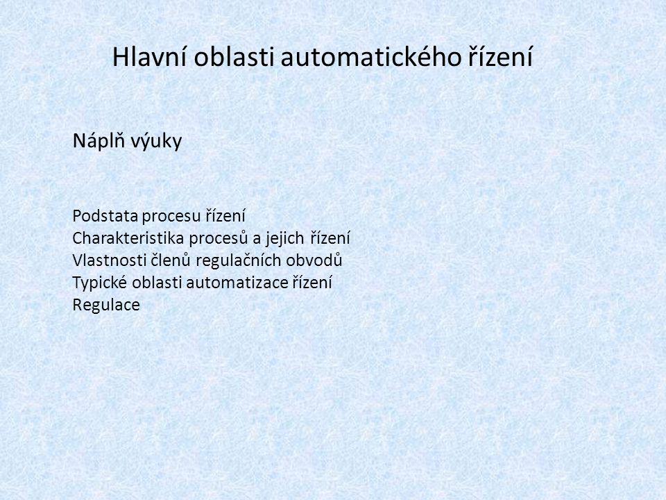 Hlavní oblasti automatického řízení