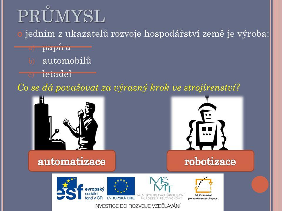 Strojírenský průmysl automatizace robotizace