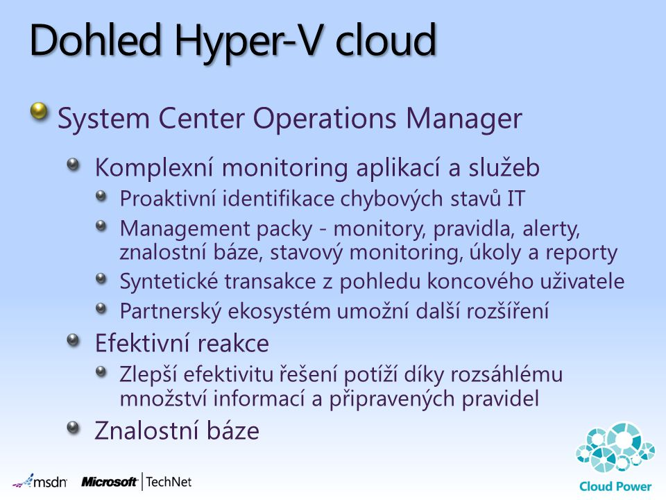Dohled Hyper-V cloud System Center Operations Manager