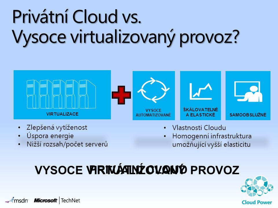 Privátní Cloud vs. Vysoce virtualizovaný provoz