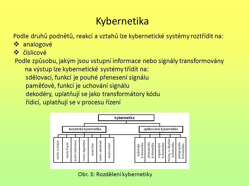 Kybernetika Podle druhů podnětů, reakcí a vztahů lze kybernetické systémy roztřídit na: analogové.