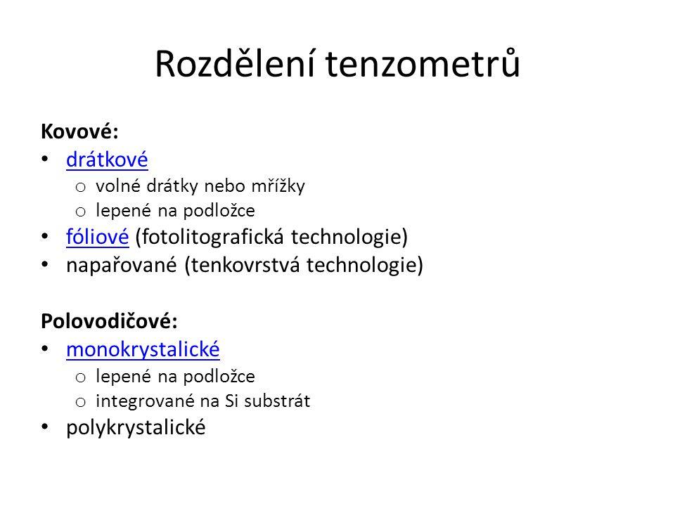 Rozdělení tenzometrů Kovové: drátkové