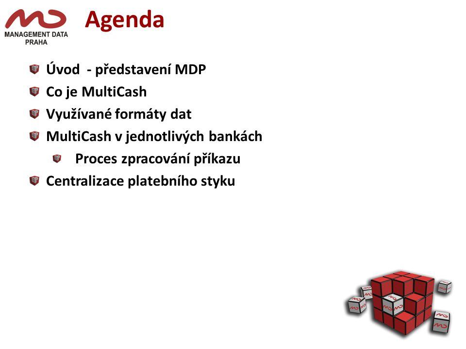Agenda Úvod - představení MDP Co je MultiCash Využívané formáty dat