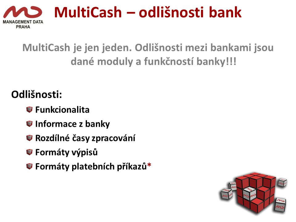 MultiCash – odlišnosti bank