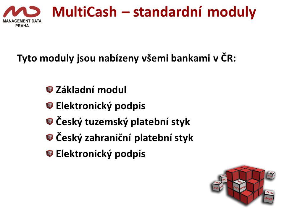MultiCash – standardní moduly