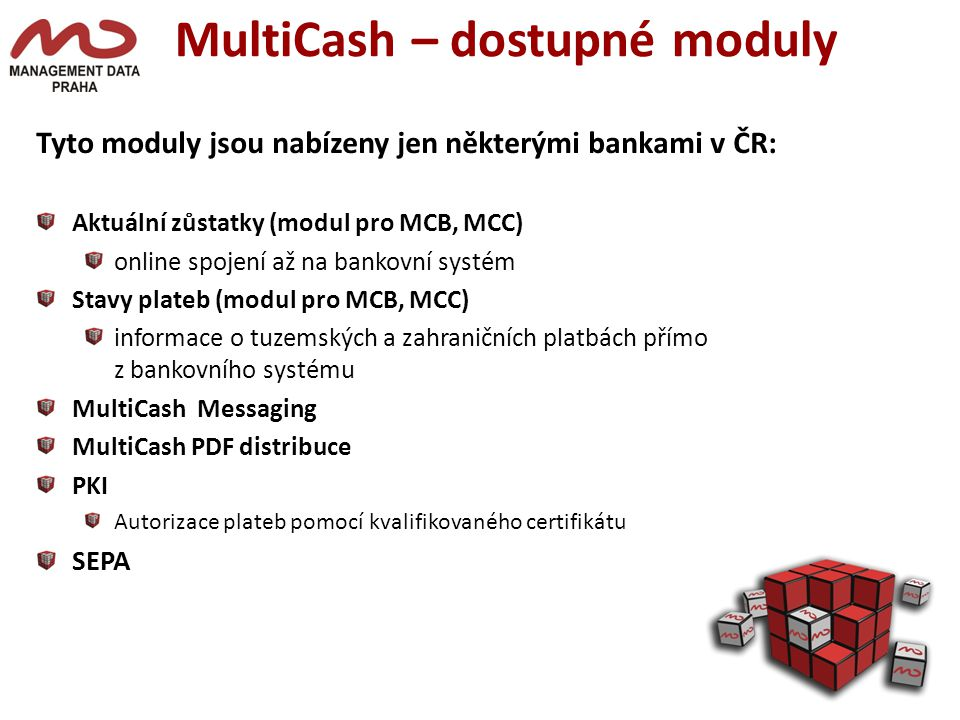 MultiCash – dostupné moduly