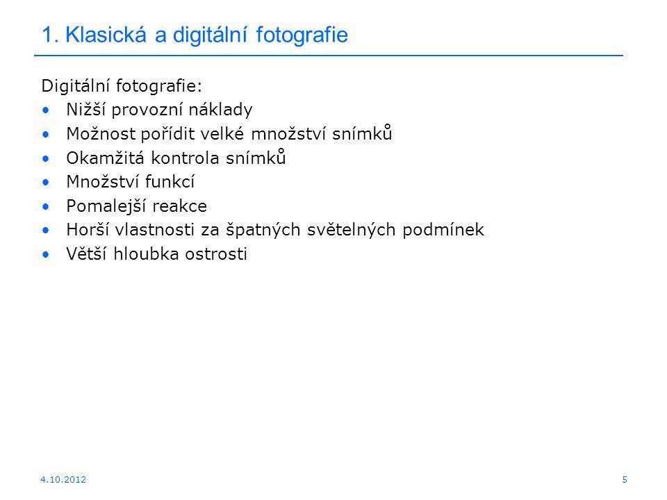 1. Klasická a digitální fotografie