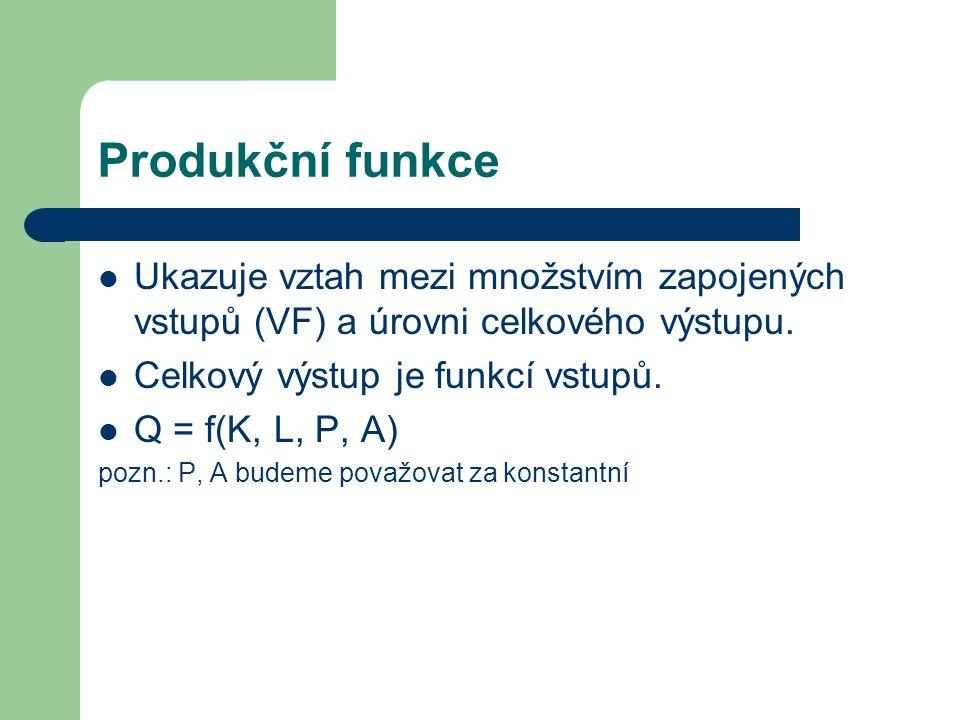 Produkční funkce Ukazuje vztah mezi množstvím zapojených vstupů (VF) a úrovni celkového výstupu. Celkový výstup je funkcí vstupů.