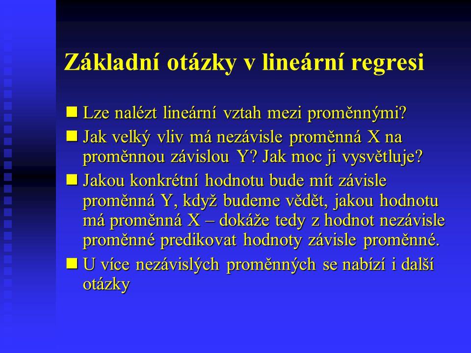 Základní otázky v lineární regresi