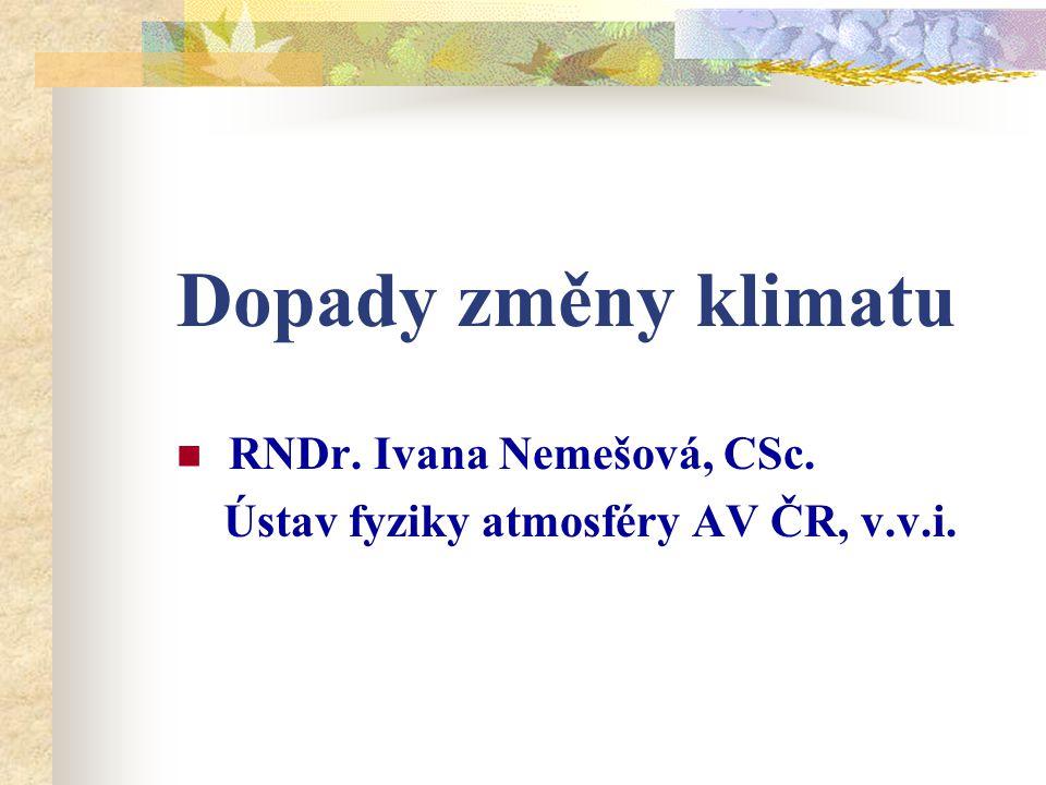 Dopady změny klimatu RNDr. Ivana Nemešová, CSc.