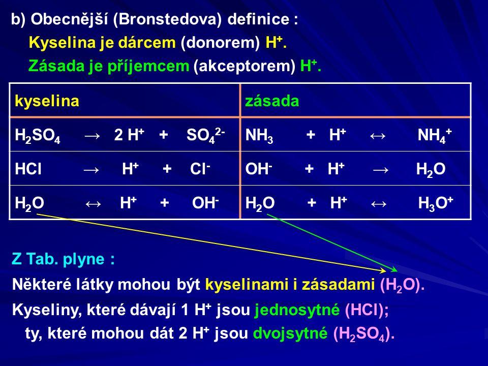 b) Obecnější (Bronstedova) definice :