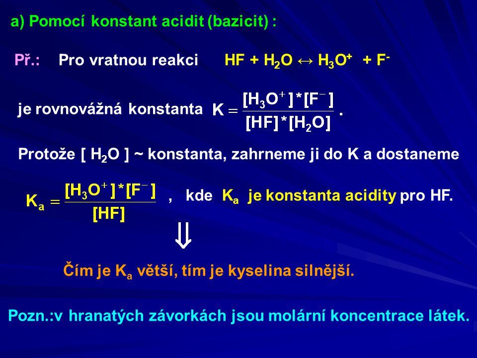 a) Pomocí konstant acidit (bazicit) :