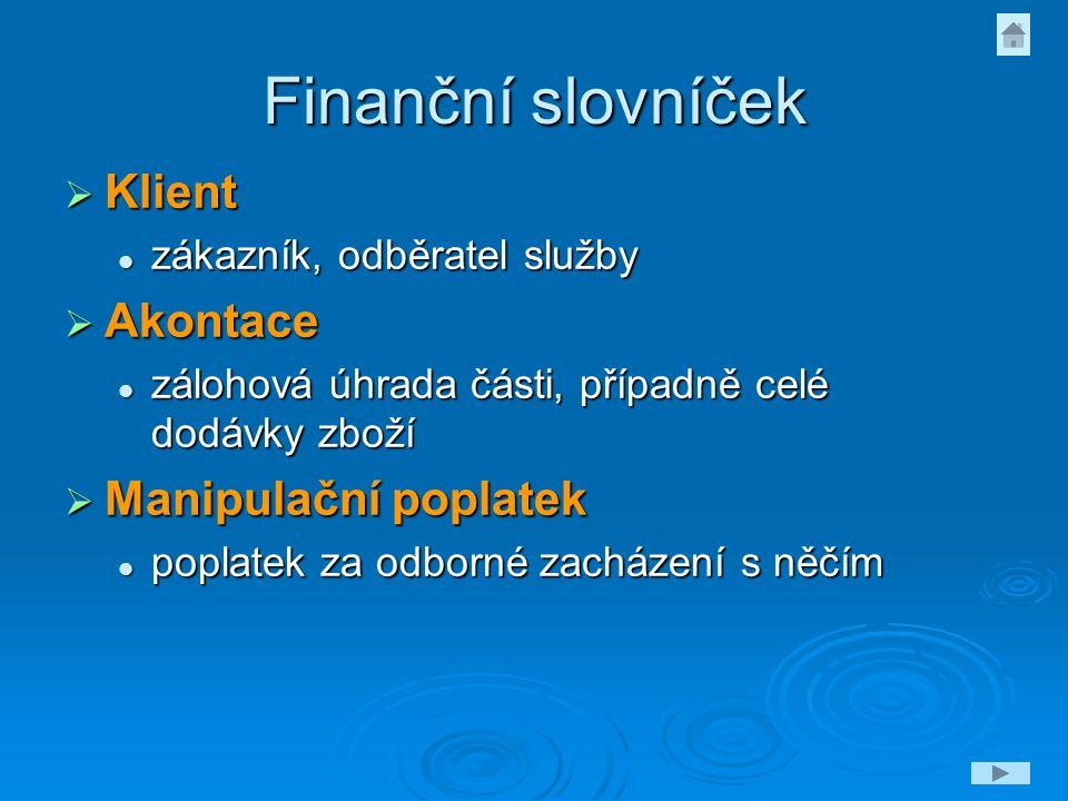 Finanční slovníček Klient Akontace Manipulační poplatek