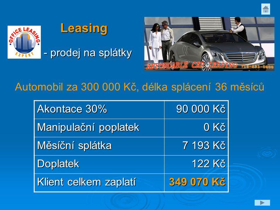 Leasing - prodej na splátky