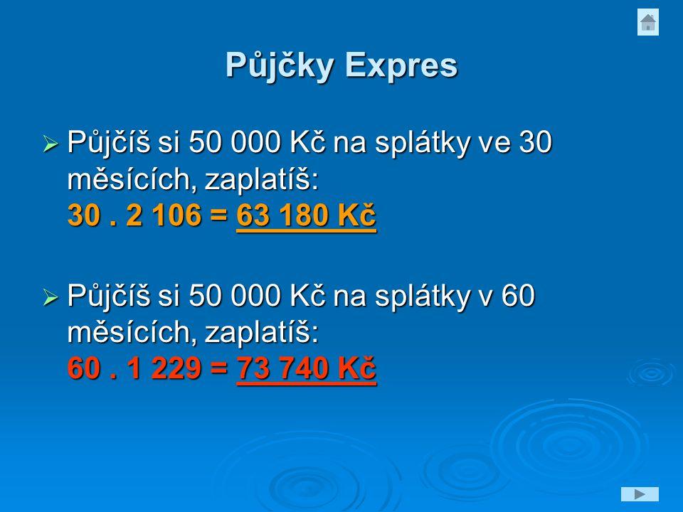 Půjčky Expres Půjčíš si 50 000 Kč na splátky ve 30 měsících, zaplatíš: 30 . 2 106 = 63 180 Kč.