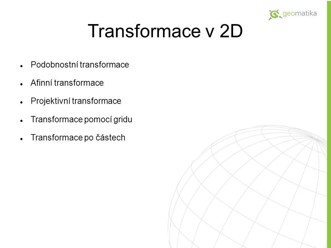 Transformace v 2D Podobnostní transformace Afinní transformace