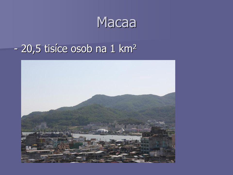 Macaa - 20,5 tisíce osob na 1 km2