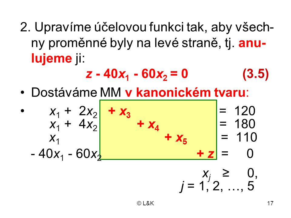 Dostáváme MM v kanonickém tvaru: x1 + 2x2 + x3 = 120