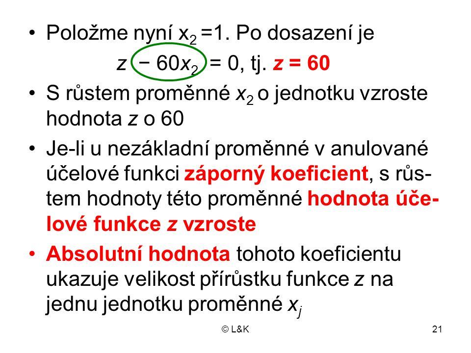 Položme nyní x2 =1. Po dosazení je z − 60x2 = 0, tj. z = 60